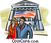 Couple wearing masks with US flag in background Vector Clipart image
