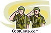 Marines saluting superiors Vector Clipart graphic