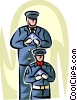 Officers of the Law and Police holding ceremonial flags Vector Clip Art picture