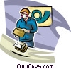 Postal worker checking mail for toxic chemicals Vector Clip Art picture