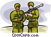 Marines loading a rocket propelled grenade Vector Clip Art image