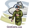 Air force pilot with fighter jet giving a thumbs up Vector Clip Art graphic