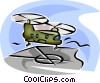 Cargo Helicopter landing on deck Vector Clipart image