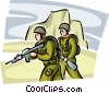 Marines ready for battle Vector Clip Art graphic
