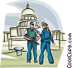 Officers of the Law and Police guarding the Capital Building Vector Clipart illustration