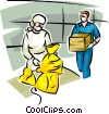Personnel handling Toxic Chemicals Vector Clipart graphic