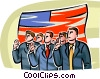 People swearing allegiance to the flag Vector Clipart picture