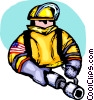 Fireman with hose Vector Clipart image