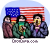 People with candles and the USA flag Vector Clipart illustration