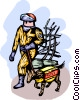 Fireman with search dog at ground zero Vector Clipart graphic