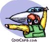 Air force personnel launching fighter jet Vector Clipart picture