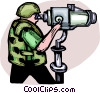 Marine scouting with high powered telescope Vector Clipart illustration