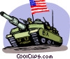 Tank with American flag going to combat Vector Clip Art graphic