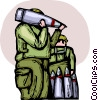 Marines carrying bombs Vector Clip Art picture