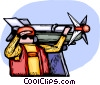 Air force personnel loading missiles Vector Clipart illustration