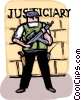 Police officer standing guard Vector Clipart illustration