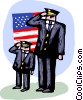 Police saluting with the American flag Vector Clipart image
