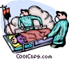 Emergency Rescue personnel removing patient for disaster Vector Clip Art picture