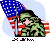 Marine with gun and American flag Vector Clipart graphic