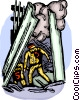 Firemen going into the fallen twin towers Vector Clip Art image