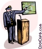 Police chief giving speech and using chart Vector Clipart graphic