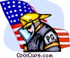 Fireman in uniform and American flag Vector Clipart illustration