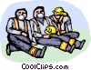 Firemen with masks taking a break Vector Clipart illustration