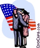 Officer hugging woman with American flag Vector Clipart illustration