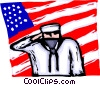 Sailor saluting with the American flag Vector Clipart graphic