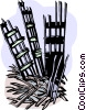 Mangled remains of the twin towers Vector Clipart graphic