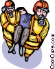 Firemen carrying victim to safety Vector Clip Art picture