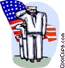 Sailors saluting with American flag Vector Clip Art image