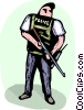 Officers of the Law and Police with gun standing on guard Vector Clipart graphic