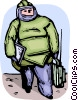 Bomb technician with equipment Vector Clipart picture