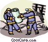 Firemen removing debris from disaster Vector Clipart graphic