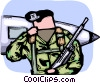 Air force personnel guarding fighter jet Vector Clipart picture