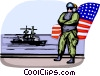 Air force personnel on aircraft carrier Vector Clipart graphic