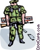 Marine standing on guard at check point Vector Clipart illustration