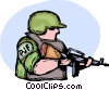 Marine ready for combat Vector Clip Art picture