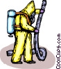 Security personnel in Toxic Chemical suits working Vector Clip Art image