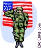 Marine saluting with American flag Vector Clipart illustration