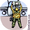 Air force personnel signaling fighter pilot Vector Clip Art picture