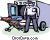 Officers of the Law and Police loading victim into ambulance Vector Clip Art graphic