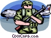 Air force personnel guarding airplane Vector Clipart graphic