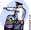 Officers of the Law and Police directing traffic Vector Clip Art graphic