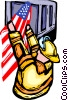 Firemen raising the American flag Vector Clip Art image