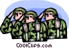 Marines saluting Vector Clip Art image