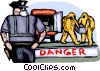 Police officer stands guard over toxic chemicals Vector Clipart illustration