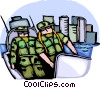 Security personnel patrolling in a boat Vector Clip Art graphic