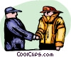 Fireman shaking hands with worker Vector Clipart picture